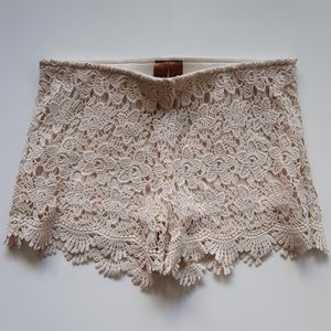 Crochet White High Waisted Shorts